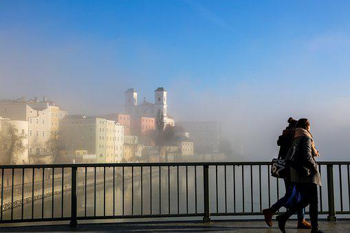 Passau, Dom, Bridge, Fog, Church, Bishop Church