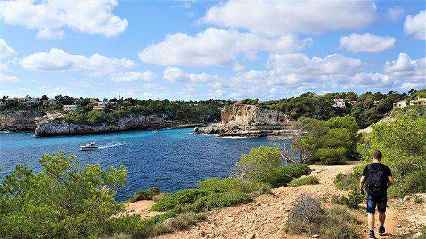 Man, Backpack, Hiking, Mallorca, Felsentor, It Pontas