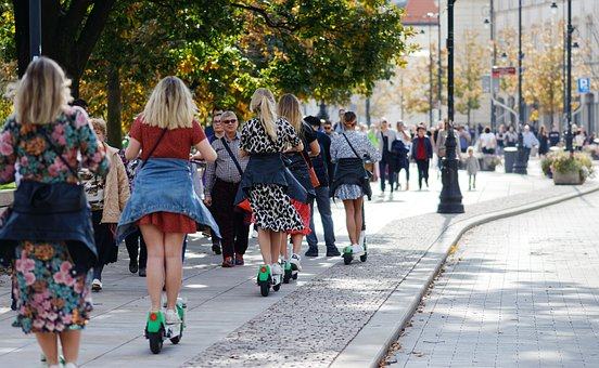People, Girls, Young, Going, Scooter, Power