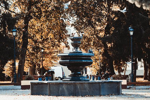 Fountain, Autumn, In The Fall Of, Water, Park, Leaves