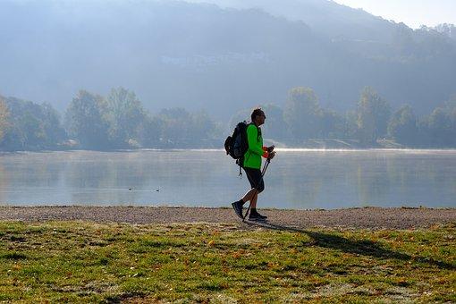 Landscape, Lake, Fog, Man, Hiking, Sport, Go