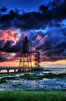 North Sea, Dorum, Lighthouse, Upper Shipping