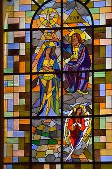 Stained Glass, Window, Church, Faith, Jesus, Mary