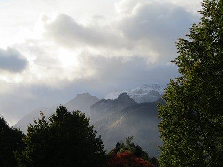 Morning Sun, Snow, Mountain Summit, Mountains, Trees