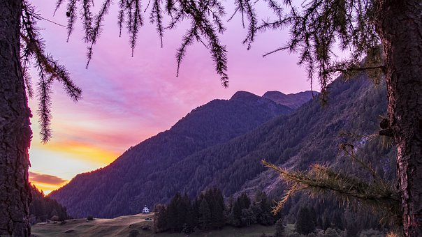 Alpine, Sunrise, Autumn, Mountains, Landscape, Nature