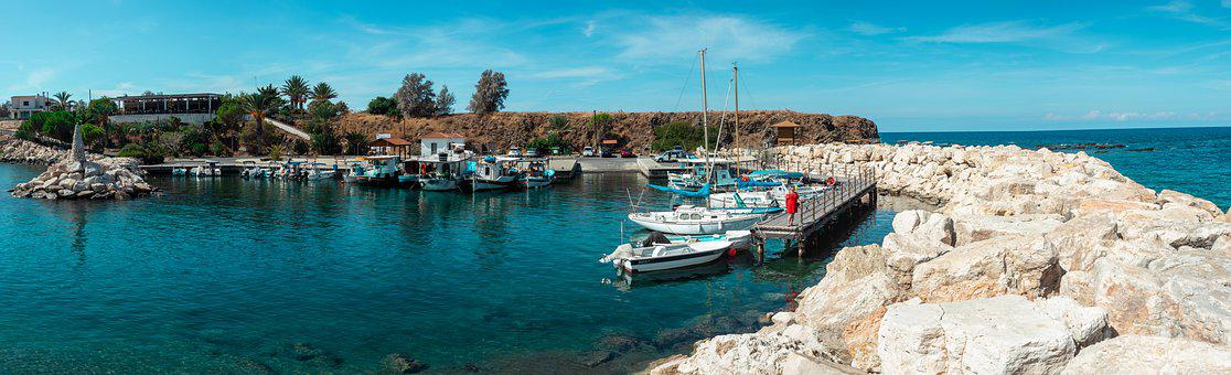Pomos, Harbor, Cyprus, Panorama, Boats, Sea, Travel