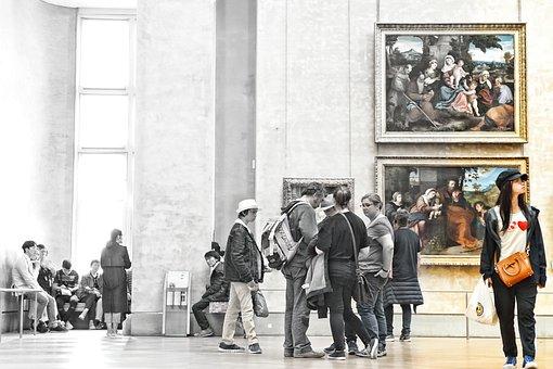 Louvre, Art, People, Paris, Architecture, Artwork