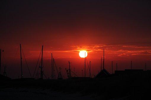 Sunset, Red, Backlighting, Sky, Clouds, Dusk, Ships