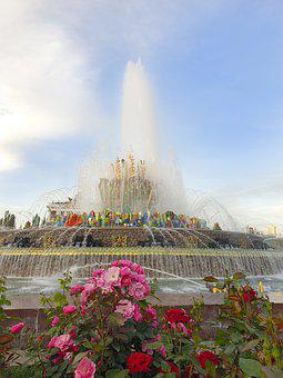 Moscow, Park, Russia, Flower, Vdnh, Fountain