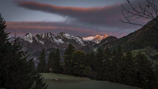 Alpine, Sunrise, Mountains, Landscape, Nature, Sunset