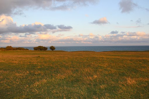 Twilight, Meadow, Sea, Nature, Sunset, Sky, Grass