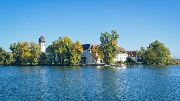 Autumn, Upper Bavaria, Ladies Island, Monastery
