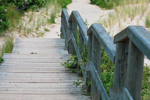 Wooden Planks Pier, Braderup Heath, Dunes Hiking Trail