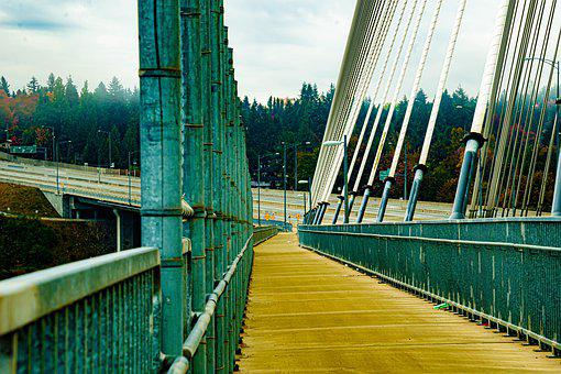 Bridge Walkway, Suspension Bridge, Highway, Iron Bridge