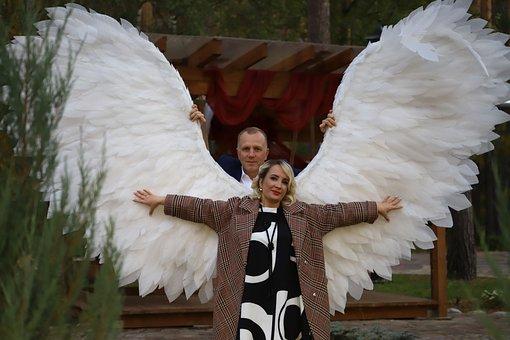 Woman, Beauty, Wings, Angel, Man, Holds, Flight, Magic