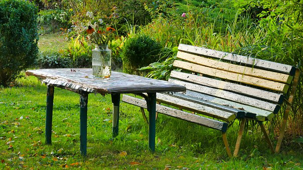 Garden, Table, Bench, Holiday, Flakon, Flowers, Lawn