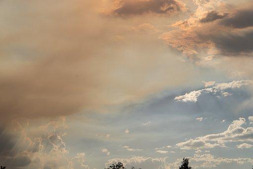 Smoke, Clouds, Bushfire, Fire, Sky, Grey, Blue, Horizon