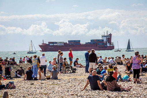 Beach, Harbour, People, Ship, Crowd