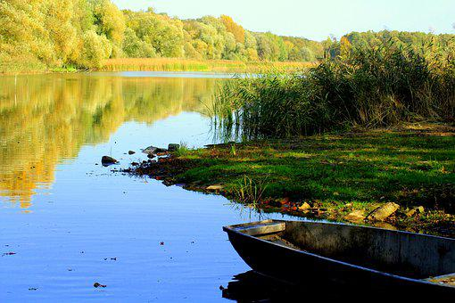 Lake, Pond, Boat, Haven, Autumn, Water, Landscape