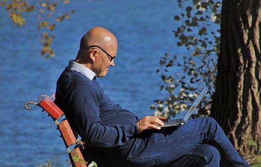 Laptop, Autumn, Internet, Bench, Senior, Lake, Looks