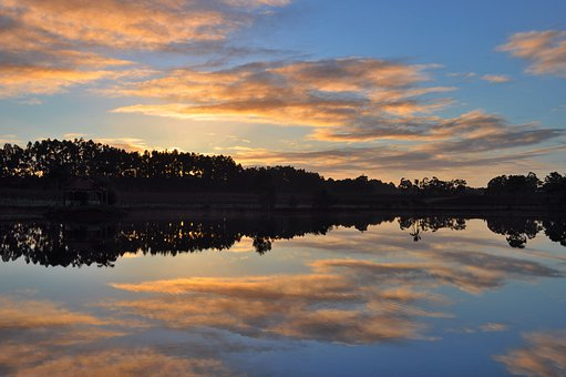Reflection, Lake, Sunrise, Water, Evening, Color