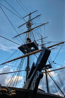 Mast, Ropes, Sky, History, Crows Nest, Brig, Ship