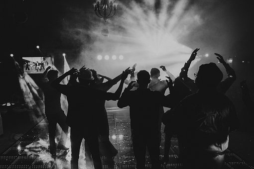 Black And White, People, Night, Party, Silhouettes