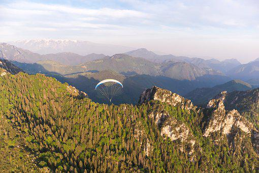Paragliding, Sunset, Flying