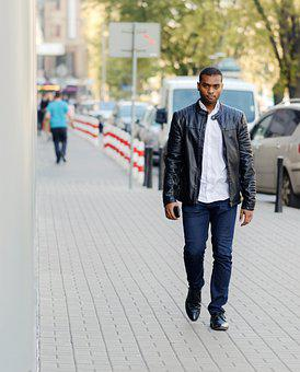 Man, Adult, Person, Black, African, Going, The Sidewalk
