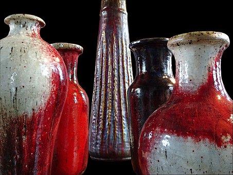 Pottery, Sandstone, Glazed, Arts And Crafts, Modern Art