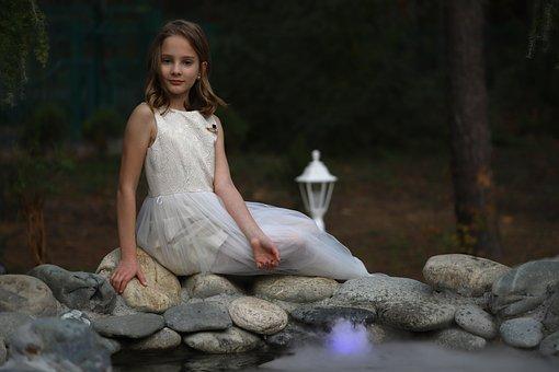 Girl, Mermaid, Water, Fog, Light, River, Stones, Hair