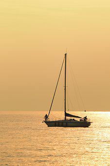 Sailing Boat, Sailing Vessel, Ship, Water, Sky, Sunset