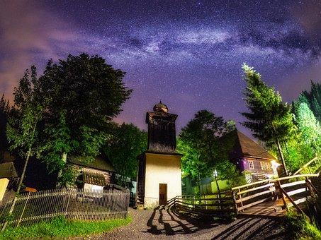 Starry, Starlight, Village, Night, Sky