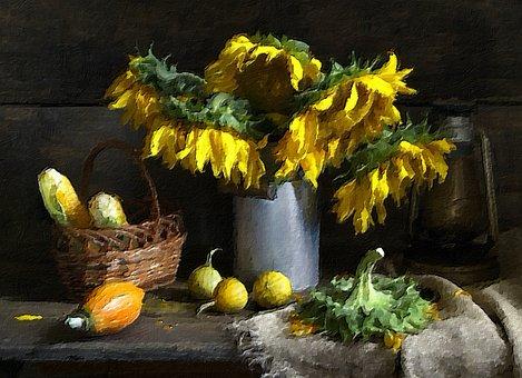 Painting, Still Life, Sunflower
