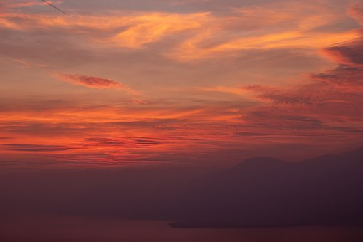 Sunset, Sky, Clouds, Red, Orange, Mountain, Lake, Water