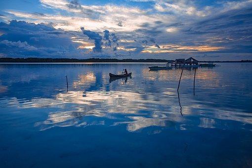 Landscape, Tropical, Atoll, Lagoon, Before Sunrise