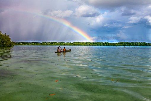 Landscape, Tropical, Lagoon, Rainbow, Weather