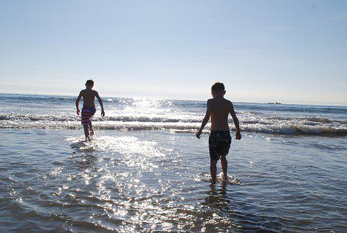 Ocean, Pacific, Sea, Beach, Children, Play, Water