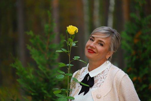 Woman, Rose, Yellow, Flowers, Flower, Beauty, Portrait