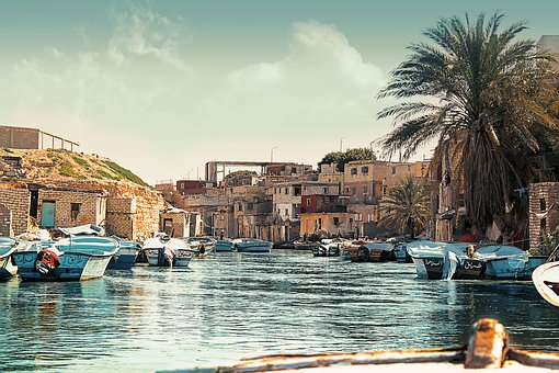Sea, Boats, Palm, Sky, The Old House, Water, Fishing