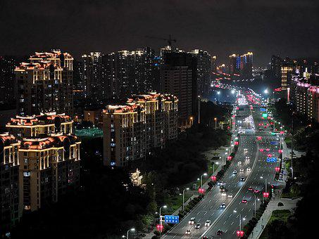 Qingdao, City, Night