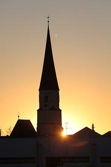Church, Sunset, Evening, Nature, Dusk, Mood, Twilight