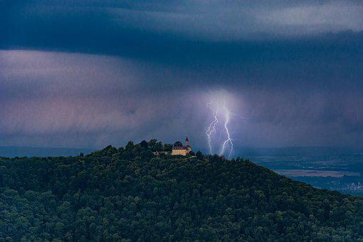 Castle, Flashes, Sky, Flash, Thunderstorm, Clouds