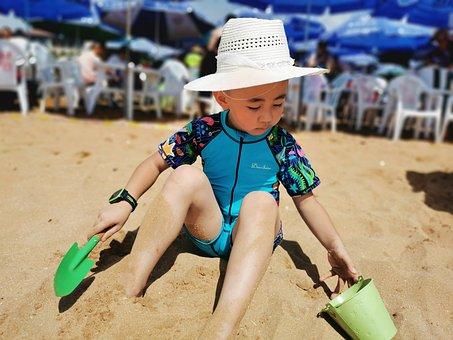 Kids, Beach, Sunshine, Summer