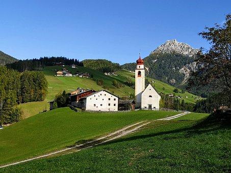 Landscape, Mountain, Ladinia, Dolomites, Curt, Marebbe