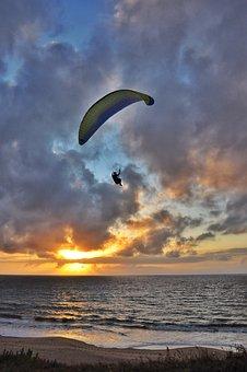 Sunset, Parachute, Adventure, Sky, Sport, Leisure