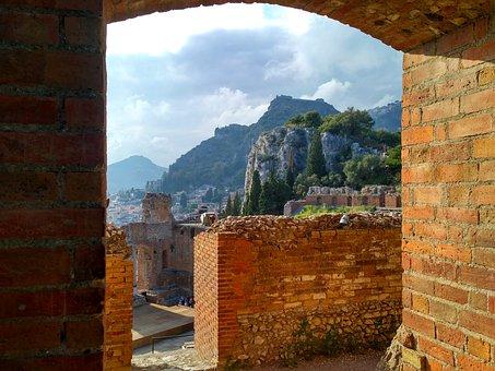 Sicily Is, Italy, Taormina, Theater, Mountain, Sky