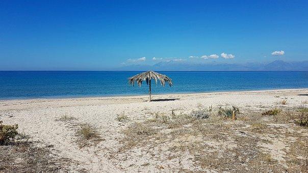 Beach, Blue, Sea, Abandoned, Parasol, Sky, Ocean, Sand