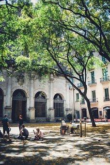 Barcelona, Church, People, Tree
