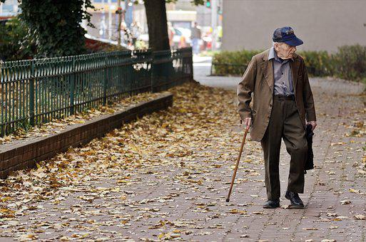 Man, Old, Person, Male, Single, Cane, Rod, Cap, Going